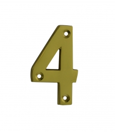 4trade Numeral 4 Face Fix 75mm Brass