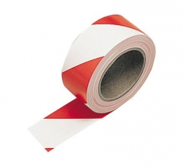 Contractor Hazard Warning Tape Self Adhesive Red White 50mm X 3m