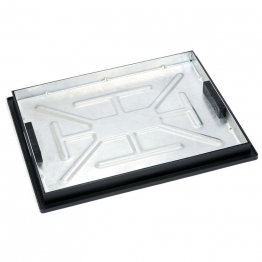 Clark-drain Manhole Cover And Frame Galvanised Steel Sealed Recessed Tray 450mm X 600mm 5 Tonne