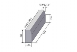 Bs Concrete Half Battered Kerb Hb2 125mm X 255mm X 915mm