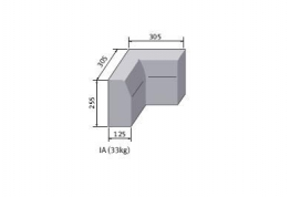 Bs Concrete Kerb Half Battered Internal Corner Hbia Rk5100100 125mm X 255mm
