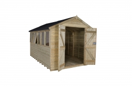 Tongue And Groove Pressure Treated Double Door Apex Shed 2438mm X 3657mm