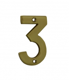 4trade Numeral 3 Face Fix 75mm Brass