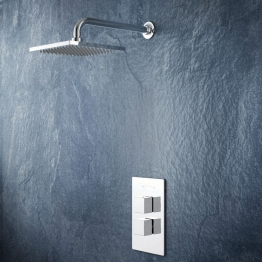 Iflo Oakford Wall Fixed Square Drench Head Thermostatic Shower With Coordinating Shower Valve