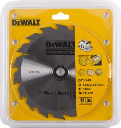 Dewalt Dt1149qz Circular Construction Blade 184mm X 16mm 18t For Dwe560