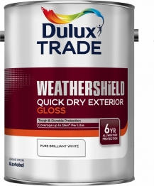 Dulux Trade Weathershield Quick Drying Exterior Gloss Pure Brilliant White 5l