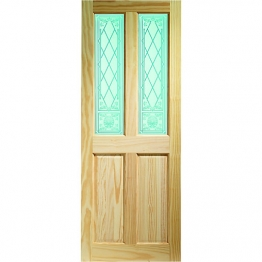 35mm Internal Pine 4 Panel Burns Clear Glazed Door. Imperial 6'6