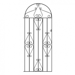 Burbage Cb41 Classic Scroll Tall Bow Top Metal Garden Gate Fits 838mm Gap X 1791mm High Black Colour