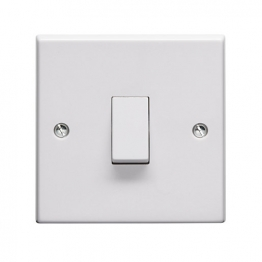 Volex White Moulded 10ax 1 Gang 2 Way Plate Switch