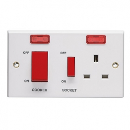 Volex White Moulded 45a Cooker Control Unit With 13a Switched Socket Outlet And Neon Light Indicators