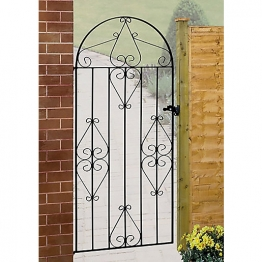 Burbage Cb43 Classic Scroll Tall Bow Top Metal Garden Gate Fits 991mm Gap X 1867mm High Black Colour