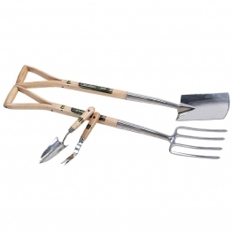 Stainless Steel Border Fork With Spade Set And Hand Trowel With Weeder Set (4 Piece)