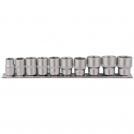 "3/8"" Square Drive Socket Set On Metal Rail (10 Piece)"