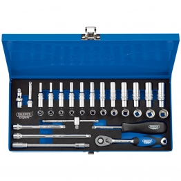 "1/4"" Sq. Dr. Metric Socket Set In Metal Case (32 Piece)"