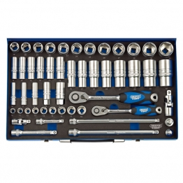 "3/8"" And 1/2"" Sq. Dr. Metric Socket Set In Metal Case (50 Piece)"