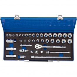 "3/8"" Sq. Dr. Combined Mm/af Socket Set In Metal Case (40 Piece)"
