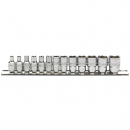 "1/4"" Sq. Dr. Metric Socket Set On Metal Rail (13 Piece)"