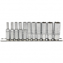 "1/4"" Sq. Dr. Imperial Deep Sockets On Metal Rail (11 Piece)"
