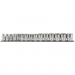 "3/8"" Sq. Dr. Metric Socket Set On Metal Rail (15 Piece)"