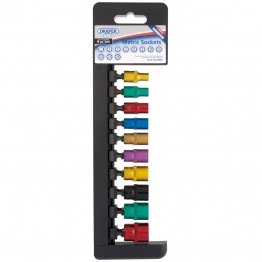 "1/4"" Sq. Dr. Metric Sockets With A Coloured Chrome Finish (10 Piece)"