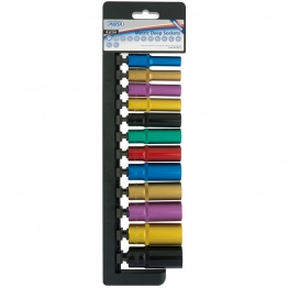 """3/8"""" Sq. Dr. Metric Deep Sockets With A Coloured Chrome Finish (12 Piece)"""