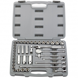 "3/8"" Sq. Dr. Mm/af Combined Socket Set (40 Piece)"